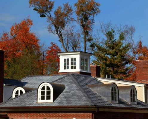 high-end dimensional shingle roof with all-copper flashing