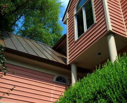 six-inch half round copper gutters