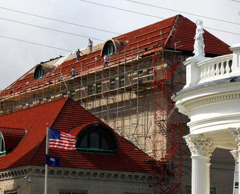 Working on the Louisville Water Tower tile roof