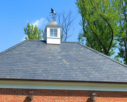 North Country Slate Roof with 6 inch half-round copper gutters